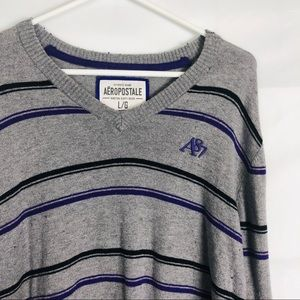 Aeropostale Large Gray Purple Vneck Sweater